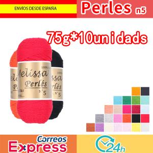Melissa Perlés 5-Hilo de Algodón para Ganchillo Hilado 100% Algodón para DIY y Tejer a Mano(75 g * 10 unidades)