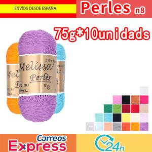 Melissa Perlés 8Hilo de Algodón para Ganchillo Hilado 100% Algodón para DIY y Tejer a Mano, (75 g * 10 unidades)