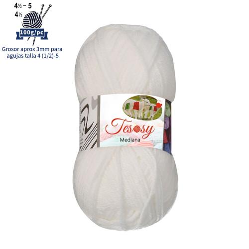 Tesosy Melissa Hilo 100% Acrilico Ovillo de Lana (200m 100g * 1=50g * 2) Premium para DIY Tejer y Ganchillo, Certificado OEKO-TEX Standard 100,Agujas Talla 4(1/2)-5