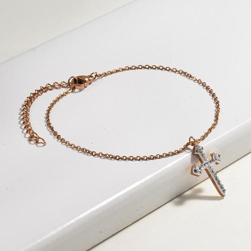 Bracelets en acier inoxydable avec croix en cristal -SSBTG143-13101-R