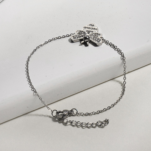 Crystal Charm Bee Simple Stainless Steel Bracelets -SSBTG143-13089-S