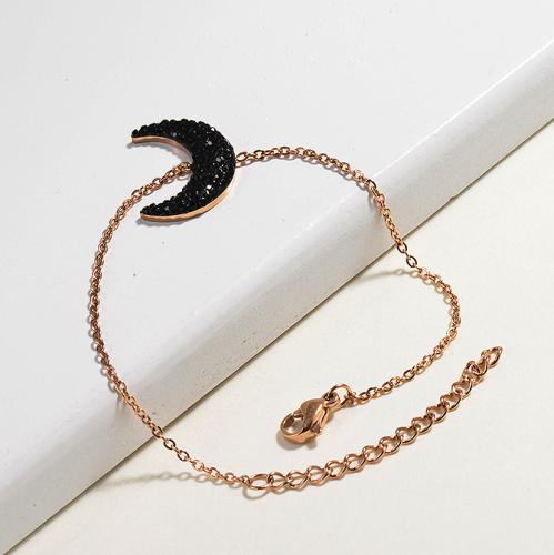Crystal Charm Moon Simple Stainless Steel Bracelets -SSBTG143-14809-R