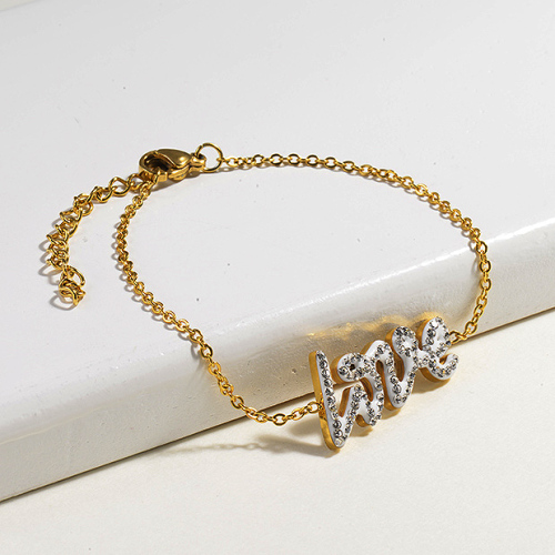 Crystal Charm Love Simple Stainless Steel Bracelets -SSBTG143-14806-G