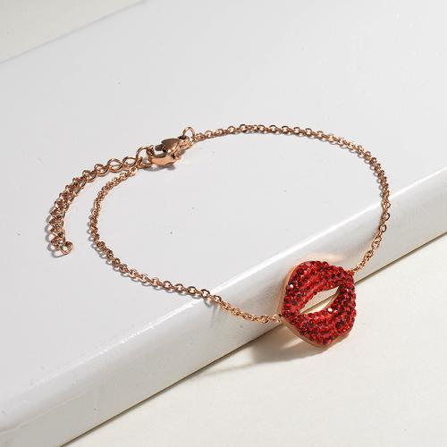 Crystal Charm Red Lip Simple Stainless Steel Bracelets -SSBTG143-14803-R