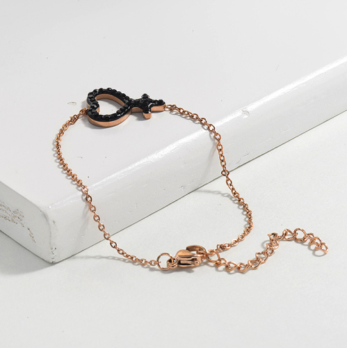 Crystal Charm Boy Simple Simple Stainless Steel Bracelets -SSBTG143-14810-R