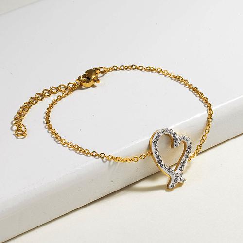 Bracelets en acier inoxydable avec breloque en cristal -SSBTG143-14804-G