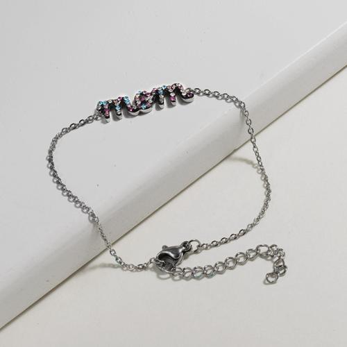 Crystal Charm Mom Simple Stainless Steel Bracelets -SSBTG143-10886-S