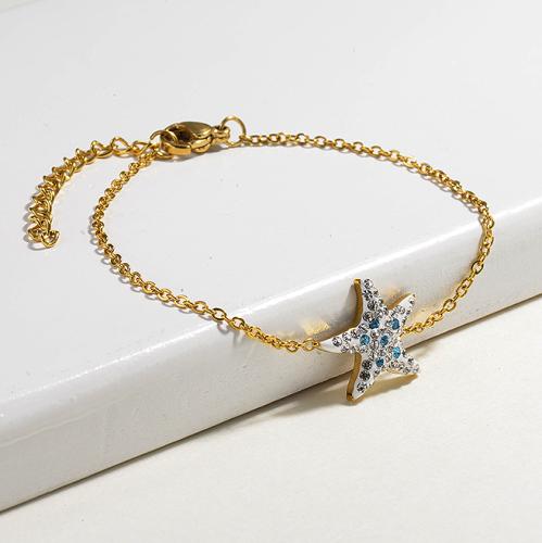 Crystal Charm Starfish Simple Stainless Steel Bracelets -SSBTG143-15383-G