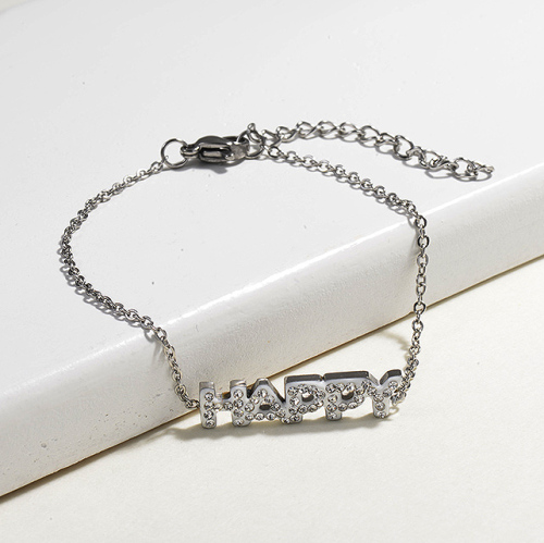 Crystal Charm Happy Simple Stainless Steel Bracelets -SSBTG143-14817-S