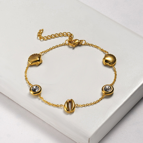 Bracelets en acier inoxydable à breloque coquille simple -SSBTG143-20440