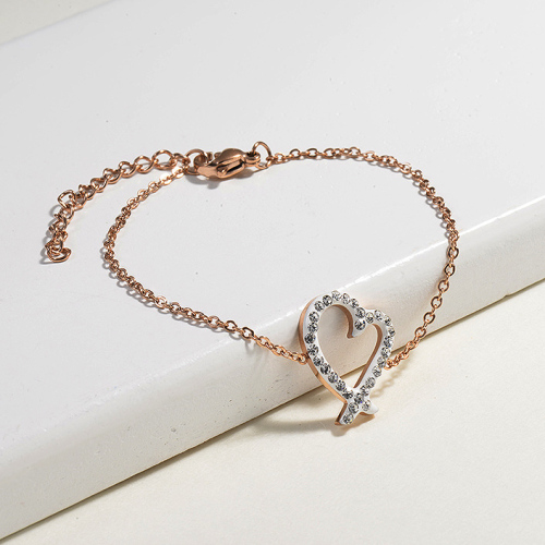 Bracelets en acier inoxydable avec breloque en cristal -SSBTG143-14804-R