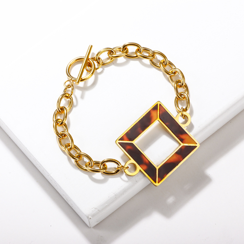 Stainless Steel Leopard Charm Bracelets -SSBTG143-13722