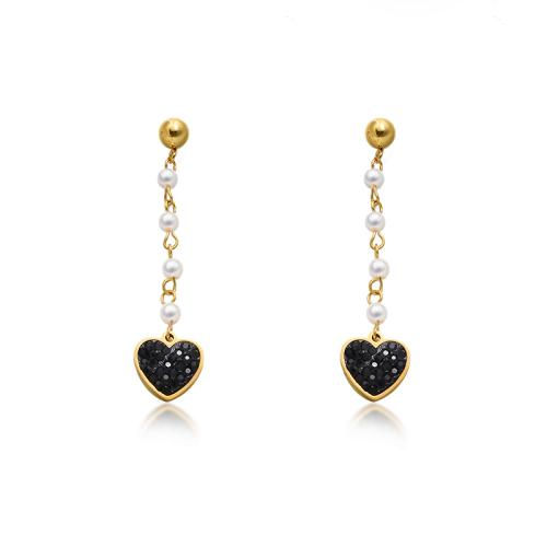 Black Heart Earrings in Stainless Steel -SSEGG143-9316