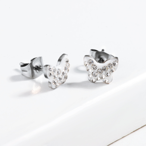 Butterfly Crystal Pave Stud Earrings -SSEGG143-13010-S