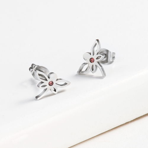 Dragonfly Crystal Pave Stud Earrings -SSEGG143-13091-S