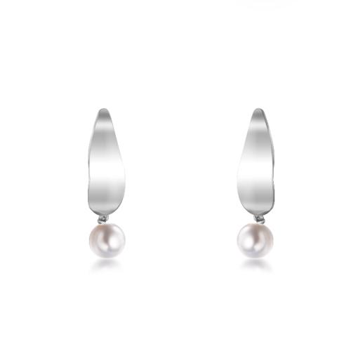 Pearl Earrings in Stainless Steel -SSEGG143-9124