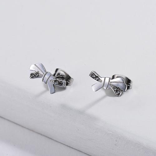 Ribbon Stainless Steel Earrings -SSEGG143-11100-E