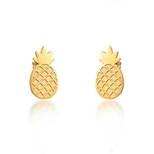 Gold Plated Pineapple Earrings -SSEGG143-8428