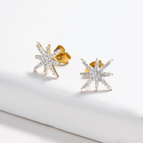 Star Crystal Paved Stud Earrings -SSEGG143-14841-G