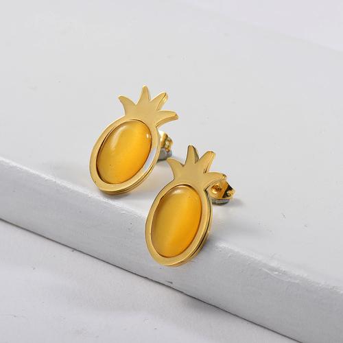 Pendientes de Piña con Piedras Preciosas de Acero Inoxidable -SSEGG143-15977-G