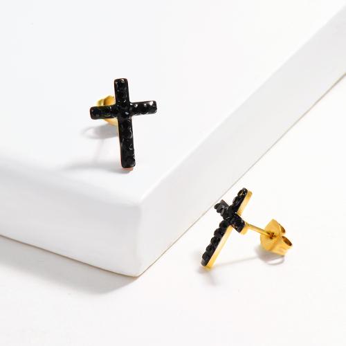 Black Cross Crystal Paved Stud Earrings -SSEGG143-14811-G