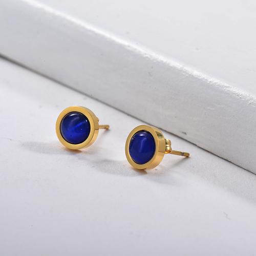 Gemstone Earrings in Stainless Steel -SSEGG143-15981-G