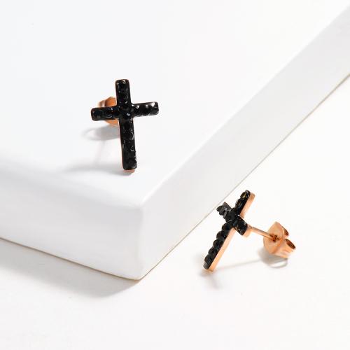 Pendientes de Botón Cruz Pavimentado de Cristal Negro -SSEGG143-14811-R