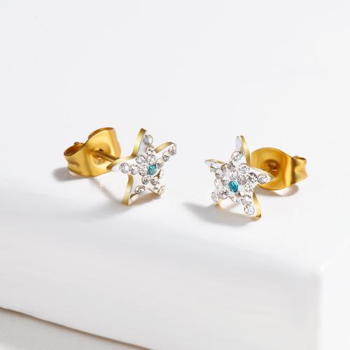 Clous d'oreilles pavés de cristaux étoiles -SSEGG143-15383-G