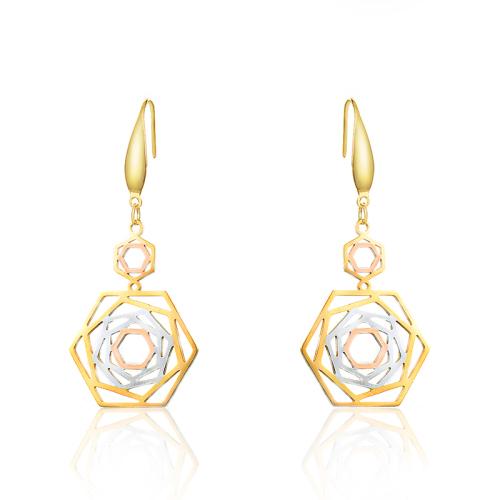 Pendientes colgantes chapados en triple color geométrico de moda -SSEGG143-10139-E