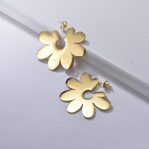 Pendientes de Acero Inoxidable Flor Geométrica de Moda -SSEGG143-22181