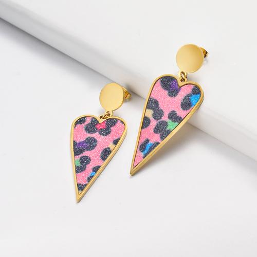 Pendientes Leopardo Rosa de Acero Inoxidable -SSEGG143-15900-G