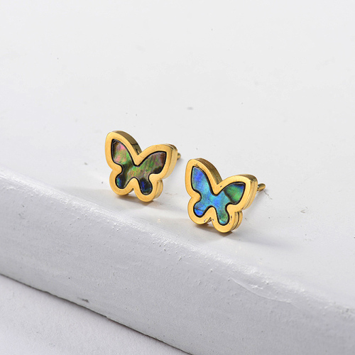 Butterfly Shell Monther of Stud Boucles d'oreilles -SSEGG143-8758