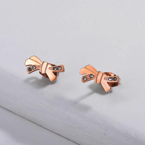 Ribbon Stainless Steel Earrings -SSEGG143-11084-E