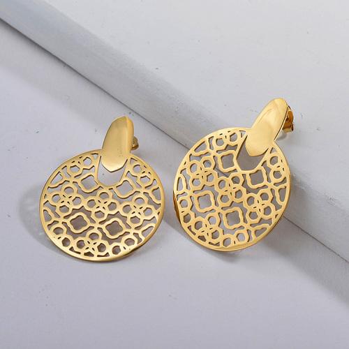 Fashion Geometric Stainless Steel Earrings -SSEGG143-17029