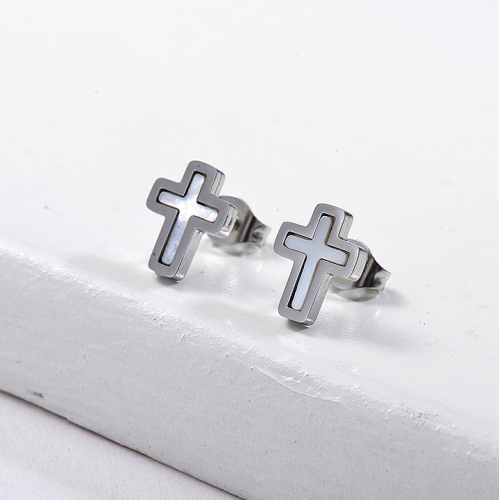 Cross Shell Monther of Stud Earrings -SSEGG143-8747