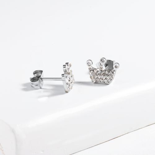 Crown Crystal Paved Stud Earrings -SSEGG143-13094-S