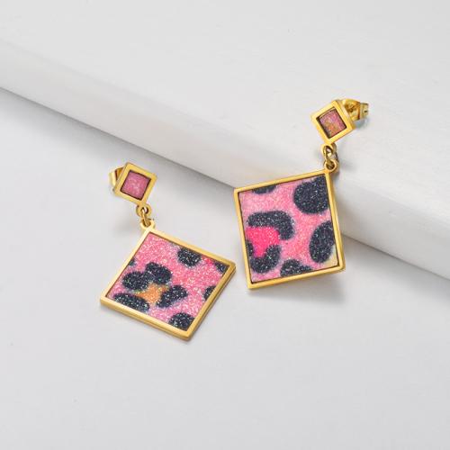 Pendientes Leopardo Rosa de Acero Inoxidable -SSEGG143-19810