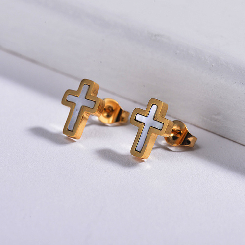 Cross Shell Monther of Stud Earrings -SSEGG143-8768