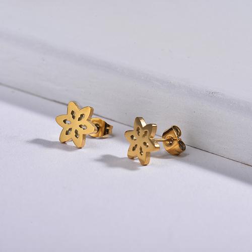 Aretes pequeños chapados en oro-SSEGG143-11057