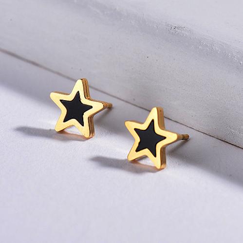 Pendientes Estrella Ónix Negro -SSEGG143-8774
