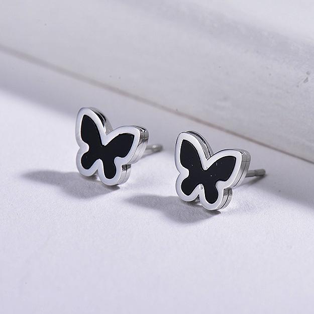 Butterfly Black Onyx Stud Earrings -SSEGG143-8733