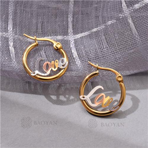 Gold Plated Jewelry Siemple Design Stainless Steel   LOVE  Hoop Earrings 22*19MM