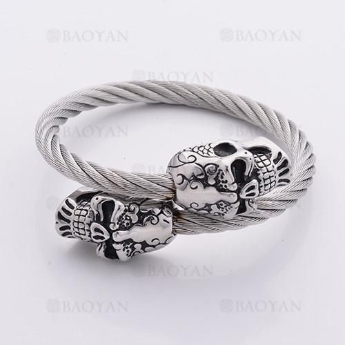 pulsera cable con punta craneo en acero plateado inoxidable -SSBTG1145300
