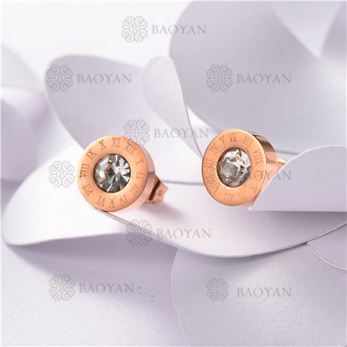 Rose Gold Plated Jewelry Siemple Design Stainless Roma Style Pearl Earrings