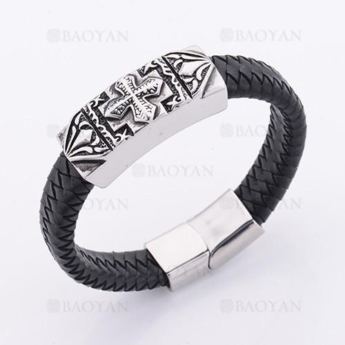 pulsera de cuero con santa cruz en acero plateado inoxidable -SSBTG1145363
