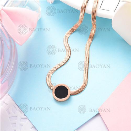 Collar de cadena de serpiente de oro rosa con encanto redondo negro de moda