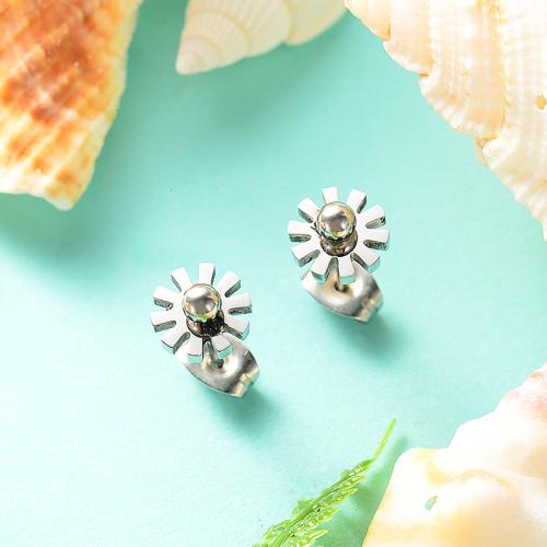 Boucles d'oreilles en argent en acier inoxydable de style simple