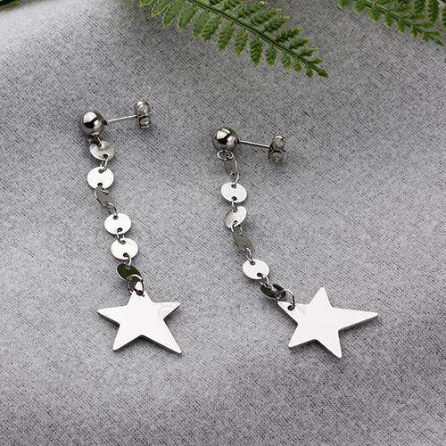 Pendientes de gota de estrella de personalidad de joyería de acero inoxidable plateado