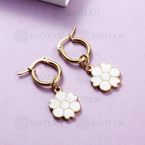 Pendientes de flores de estilo lindo de joyería de acero inoxidable plateado