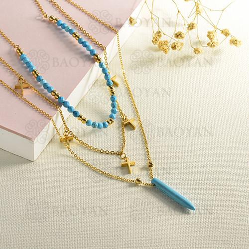 Collar de oro en capas estilo piedra azul